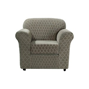 Sure FitストレッチGrand Marrakesh 2ピース – 椅子Slipcover – ナイルブルー Chair ブラウン SF45873