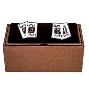 mrcuff Kings 4 4つPlaying Cards PokerのペアCufflinks with aプレゼンテーションギフトボックス