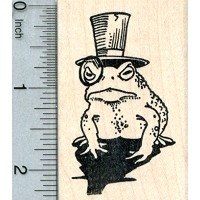 Dapper Frogラバースタンプ、in Top Hat with Monocle