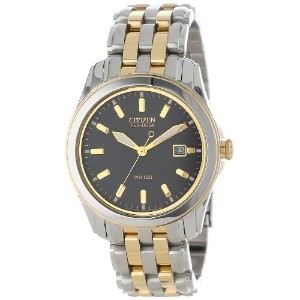Citizen シチズン メンズ 腕時計 エコドライブ Men's BM6734-55E Eco-Drive Two-Tone Stainless Steel Black Dial Watch