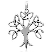 WithLoveSilverスターリングシルバー925 Celtic Trinity Knot Tree of Life forラッキーチャームペンダント