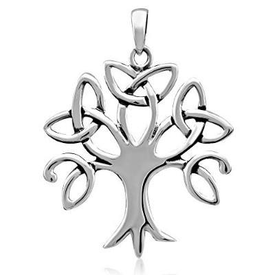 WithLoveSilverスターリングシルバー925Celtic Trinity Knot Tree of Life forラッキーチャームペンダント