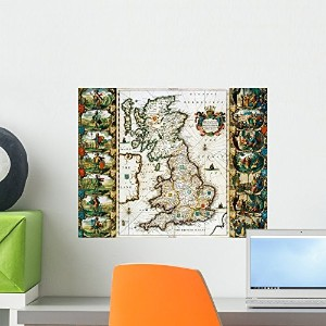Wallmonkeys WM326230 Map of Great Britain Surveyed by John Speed and Engraved by Jocodus Hondius Peel and Stick Wall Decals (18 in W x 14 in H) by Wallmonkeys Wall Decals