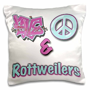 3droseブロンドDesigns動物Love Peace And In Pastels – Love Peace And Rottweilers inブルーandパープル – 枕ケース 16x16...