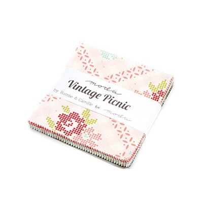 """Vintage Picnic Charm Pack By Bonnie and Camille; 42 - 5"""" Precut Fabric Quilt Squares"""