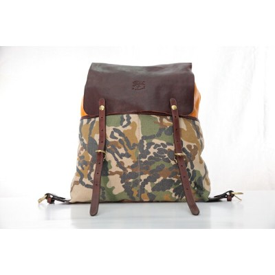 IL BISONTE a2326 Cowhide Backpack イルビゾンテ カウハイドバックパック メンズ レディース レザー 本革 カモフラ カモフラージュ 柄