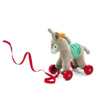 Steiff 238642 シュタイフ ぬいぐるみ ロバ Pull-Along Animal Issy Donkey (Multicoloured, 18cm)