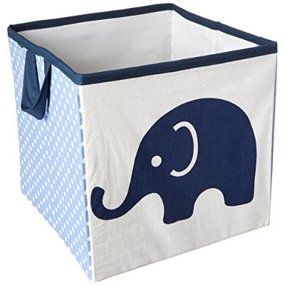 Bacati Elephants Storage Tote Basket, Blue/Grey, Small by Bacati