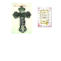 BABY Girl's First Bible & CRIB CROSS Gift Set - Bless This Child - BAPTISM Christening BOXED PINK...