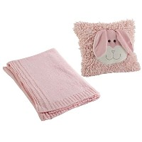 Rebecca Rabbit Shaggy Pillow - 12 inch and Pink Knit Soft Nursery Blanket 30 x 40 inch by bebe
