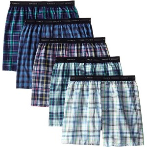 Hanes MWCBX5 Mens Red Label Exposed Waistband Fashion Plaid Boxer Size - Small - Assorted