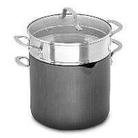 Calphalonクラシックテフロン加工の8 Qt。Covered multi-pot withブラックハード陽極酸化Exterior and dual-layer Nonstick内部by...