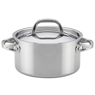 (Medium, Stainless Steel) - Anolon 31507 3.3l Tri-Ply Clad Covered Saucepot, Medium, Stainless Steel