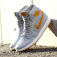 NIKE AIR JORDAN 1 RETRO HI FLYKNIT(ナイキ エア ジョーダン 1 レトロ ハイ フライニット)WOLF GREY/GOLDEN HARVEST-GUM YELLOW...