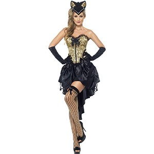 Smiffys Women's Black/Gold Burlesque Kitty Costume - Us Dress 10-12