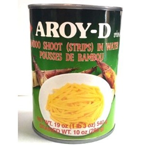 AROY-D BAMBOO SHOOT (STRIPES) IN WATER POUSSES DE BAMBOU 清水竹笋丝 540g タケノコ たけのこ細切 筍 タイ国賞味期限2018年7月18日