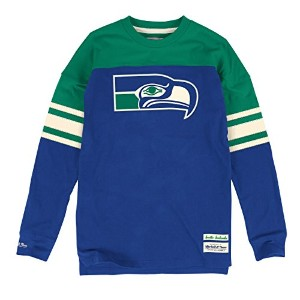 Seattle Seahawks Mitchell & Ness NFL「ポンプ」長袖クルーシャツ L