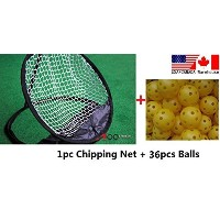 a99 Golf Chipping PracticeコンボトレーニングAids 1pc Chipping Net + 24pcsエアフローボールイエロー