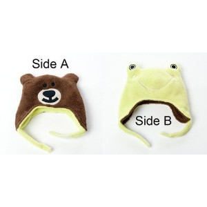 Luvali Convertibles LCKDWSFR Frog/Bear Reversible Kid's Winter Hat Small