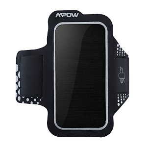 Mpow Iphone 6スポーツアームバンド防汗仕様Iphone 766sアームバンドfor Running with Reflective strip-black