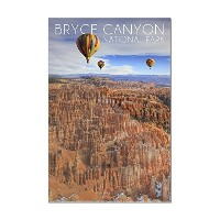 ブライスキャニオン – ホットAir Balloons 8 x 12 Acrylic Hanging Wall Decor LANT-3P-AC-WD-52886-8x12