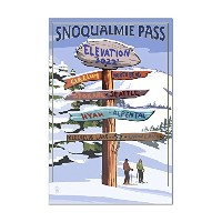 Snoqualmie Pass、ワシントン–スキー案内標識 16 x 24 Acrylic Hanging Wall Decor LANT-3P-AC-WD-47707-16x24