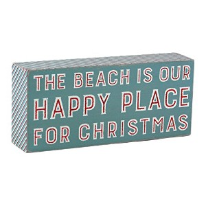 The Beach Is Our Happy Place Forクリスマス木製ボックスサイン
