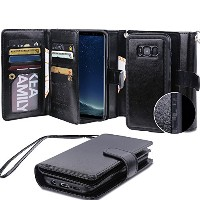 Galaxy S8 Plus Detachable Case, AICOO Magnetic 2 in 1 Separable Removable 9 Cards Holder Photo Slot...