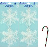 """( Pack of 2) 6カウント4""""クリスマスハウスプラスチック& Tinsel Snowflake Ornament with Free 6"""" Candy Caneオーナメント(..."""