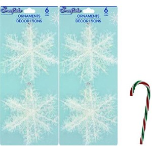 "( Pack of 2 ) 6カウント4 ""クリスマスハウスプラスチック& Tinsel Snowflake Ornament with Free 6 "" Candy Caneオーナメント(..."
