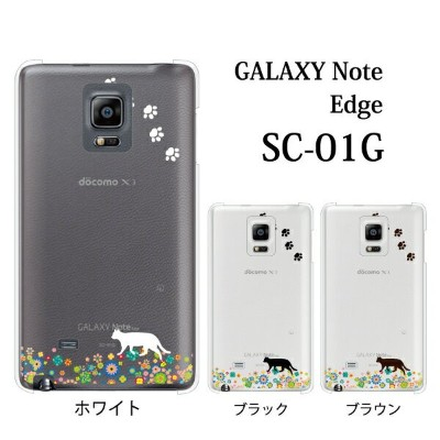 GALAXY Note Edge SCL24 お花畑を歩くかわいい猫 クリア for au GALAXY Note Edge SCL24[ファブレット Phablet]【ギャラクシーノートエッジ...
