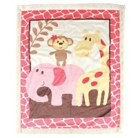 Luvable Friends Sherpa Blanket, Pink Safari by Luvable Friends