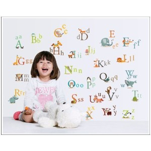 YYones 26 English Letters A To Z with Animals Colorful Character Decal Sticker for Decorate Nursery...