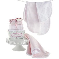 Baby Aspen Baby Cakes Set of 3 Burp Cloths, Pink/White by Baby Aspen