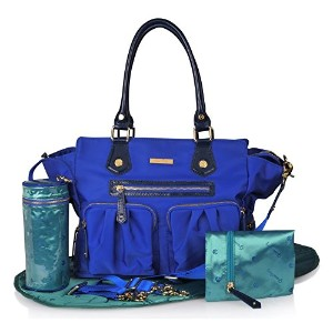 Luxury Diaper Bag in Stylish Blue, 7-Piece, Weekender- Tote Bag -Baby Boy & Baby Girl - Fashion Bag...