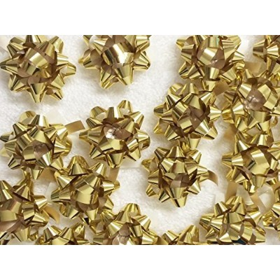 PEPPERLONELY Brand 20PC Peel & Stick 1-1/4 Metallic Gold Mini Star Confetti Bows Christmas Gift...