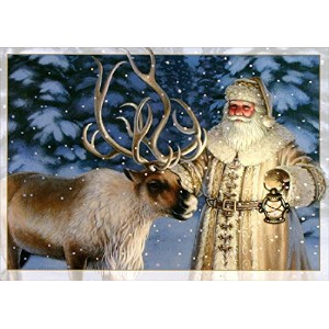 Old Fashioned Santa with Reindeer - Box of 16 Christmas Cards by LPG Greetings