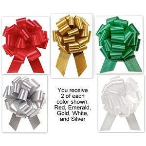 5.5 Pull Bows - 20 loops - Christmas Colors Mixed Collection Flora Satin 5.5 Pull Bows - 20 loops - by Premium Quality Gift Wrap Paper