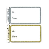 100 Trendy Gold & Silver Peel N Stick Wedding Birthday Party 2-1/2 X 1-1/4 Gift Tags Stickers by CCS