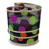 Glitter Halloween Polka Dots on Black Sheer Wired Ribbon #40 - 2.5in x 10 yards by Party Explosions