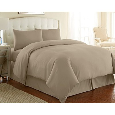 (Queen, Taupe) - Southshore Fine Linens 3 Piece - Oversized Duvet Cover Set (Queen, Taupe)