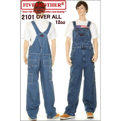 FIVE BROTHER 2101-45 HEAVY 12oz OVER ALL JEANS ファイブブラザー 12オンス デニム オーバーオール ジーンズ オールインワン【FIVEBROTHER...