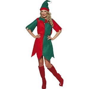 Smiffys Women's Red/Green Elf Costume, Ladies Tunic - Us Dress 16-18