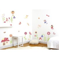 Enchanted Garden Fairies Girl's Nursery and Bedroom Wall Sticker Decor Kit
