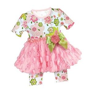 Stephan Baby Swirly Flower Chiffon Rosette-skirted Top and Diaper Cover, 6-12 Months by Stephan Baby