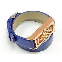 BSI Long Blue Leather Replacement Bracelet With New Unique Design Rose Gold Metal Jewelry Housing...