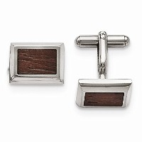 PerfectジュエリーギフトステンレススチールPolished with Wood Inlay Cuff Links