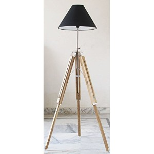 Timber Tripod Floor Lamp Stand Teak Wood Solid Lamp Stand Natural Wood Decor by NAUTICALMART