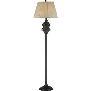 Lite Source C61259 Floor Lamp with Beige Fabric Shades, Black Finish by Lite Source