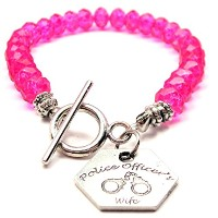 Police Officer 's WifeクリスタルToggle Bracelet Inホットピンク